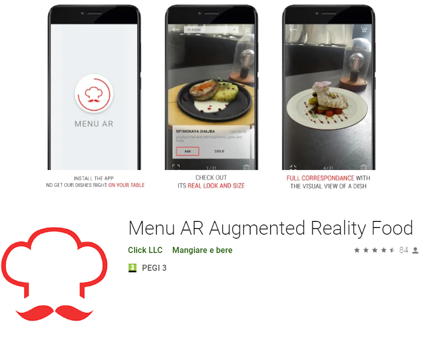 menù AR augmented reality Play store